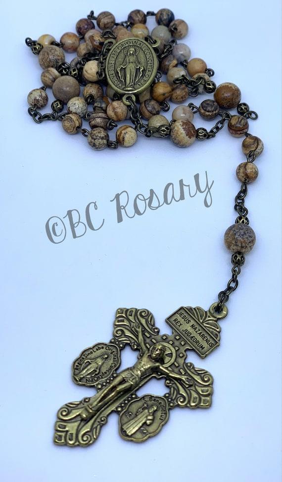 Catholic Leopardskin Jasper Rosary