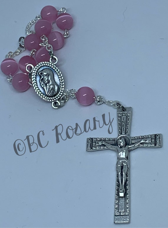 Catholic Pink Cat's Eye Auto Rosary