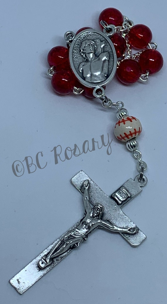 Catholic Red Baseball Auto Rosary