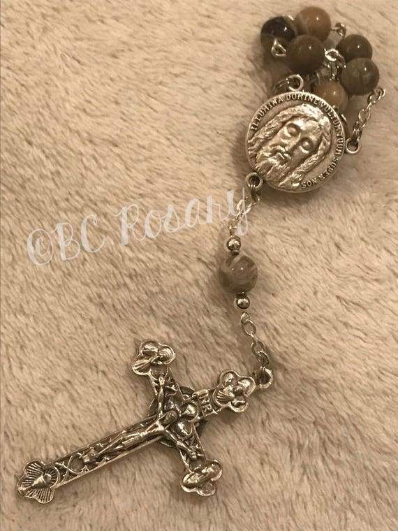 Catholic Fossil Coral Auto Rosary