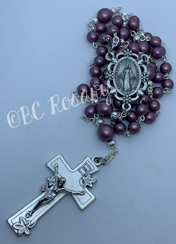 Catholic Floral Miraculous Medal Rosary