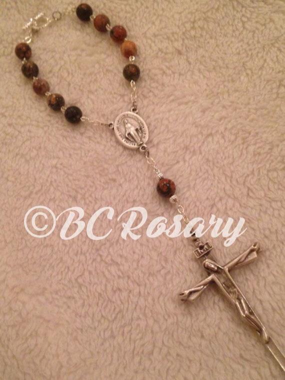Catholic Leopardskin Jasper Auto Rosary
