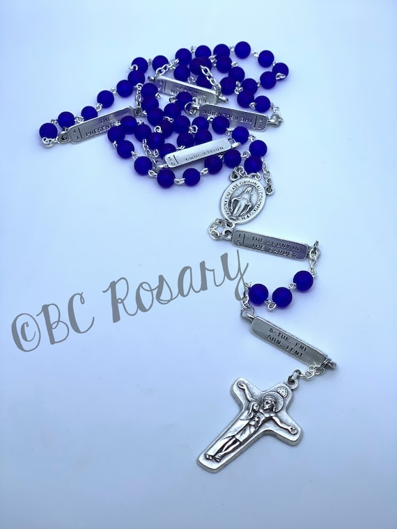 Catholic Cobalt Blue Recycled Glass Mysteries Rosaries