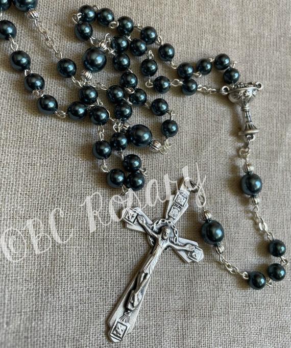 Catholic Satin Blue Communion Rosary