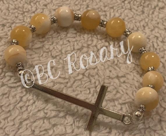 Silver Cross Canary Stretch Bracelet