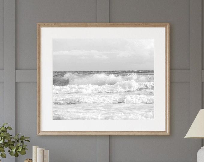 Ocean Waves Print, Coastal Wall Art, Coastal Beach Art, Black & White Ocean Waves, Nautical Decor, Available on Canvas, Metal, Wood and More