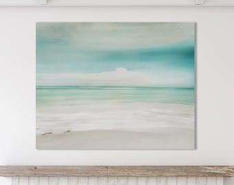 Abstract Beach Print, Turquoise Ocean Waves, Blue Ocean, Coastal Beach Art, Abstract Wall Art, Framed Beach Print, Abstract Ocean Canvas