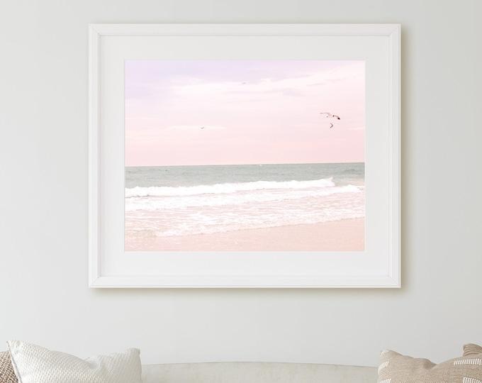 Beach Photography Print, Pastel Ocean Art, Beach Decor, Coastal Photography, Pastel Pink, Framed Beach Art, Water Canvas, Pink Beach Canvas