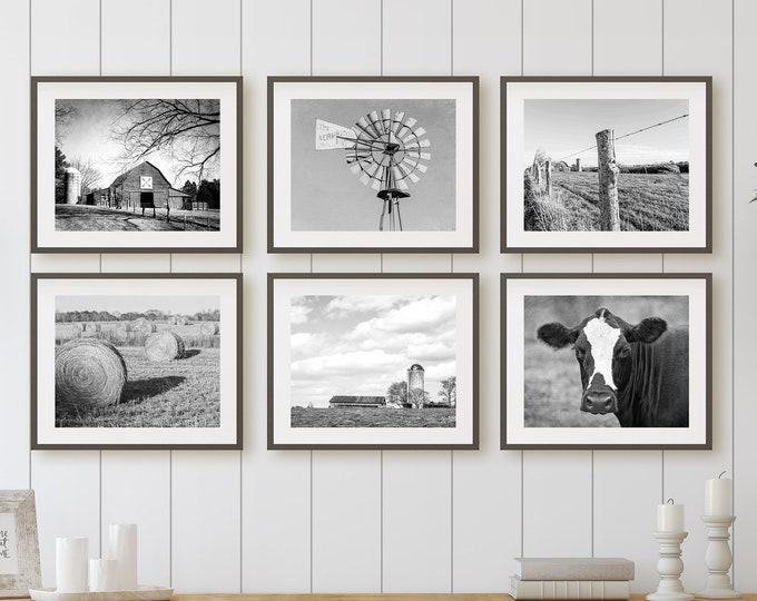 Farmhouse Print Set, Farm Photography, Rustic Barn Pictures, Farmhouse Decor, Barn Wall Art, Farm Landscape, Hay Bales, Cow, Canvas Set