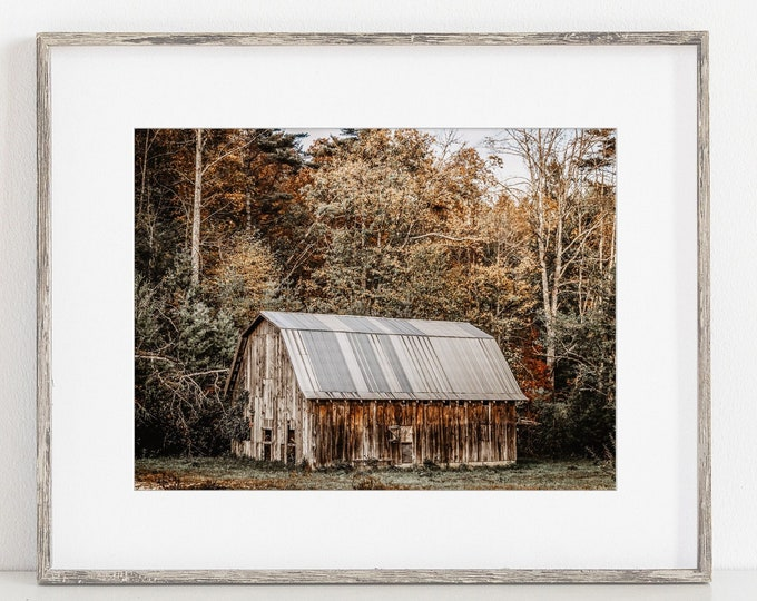 Barn Autumn Landscape in Cashiers NC Wall Art Decor Print or Canvas Print. Rustic Barn Landscape with Fall Colors. Rustic Farmhouse Wall Art