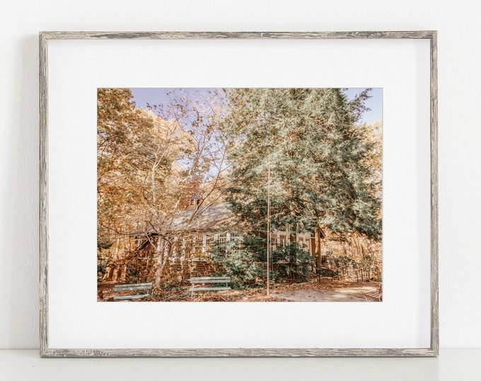 Little Brown Church in the Fall in Walden Wall Art Print or Canvas. Walden's Ridge Signal Mountain Little Brown Church Photography Print.
