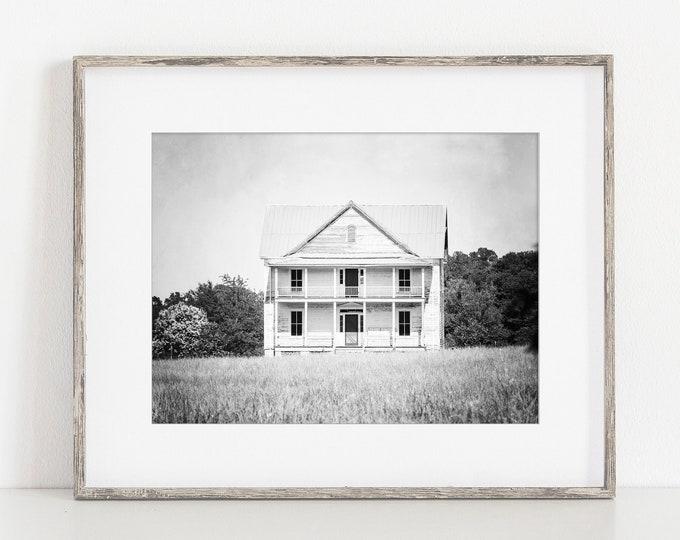 Farmhouse Photography Print, Rustic Farmhouse Decor, White Farmhouse, Country Style, Fixer Upper, Framed Farmhouse Print, Farmhouse Canvas