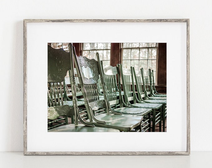 Rustic Chairs in the Little Brown Church Wall Art Print or Canvas. Hand Carved Chairs for Rustic Cottage Decor. Signal Mountain Photography.