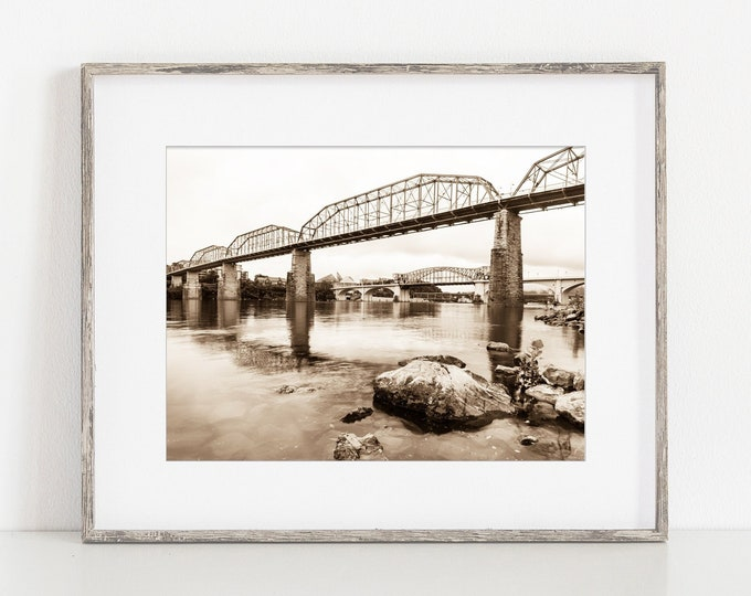 Chattanooga Photography Print, Tennessee River, Walnut Street Bridge, Large Canvas Art, Black & White or Sepia, Framed Print Available