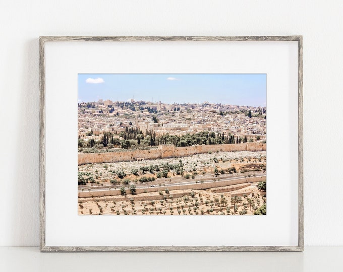 Jerusalem Skyline Wall Art Decor in the Ancient Old City of Jerusalem. Old City Jerusalem Walls, Holy Land Israel Travel Print or Canvas.