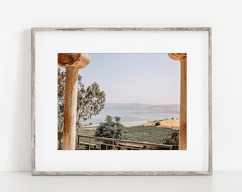 Israel Wall Art Decor of the Sea of Galilee from the Church of Mount of Beatitudes . Holy Land Israel Travel Photography Print or Canvas.