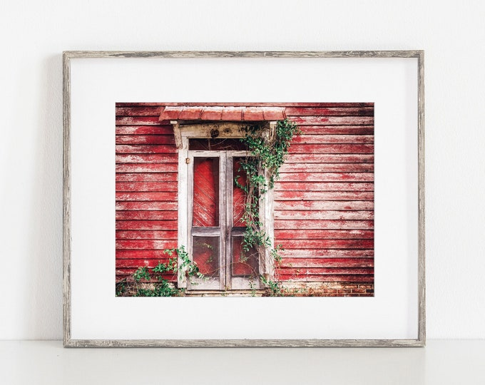 Rustic Red Barn Door Wall Art Decor. Rustic Farmhouse Primitive Decor Print or Canvas. Country Barn Door with Ivy Wall Art for Living Room.
