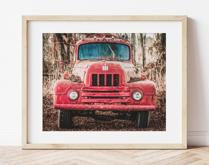 Retro Vintage Truck Photography For Rustic Industrial Home Decor or Boys Room Wall Art. 1950's International Harvester Print or Canvas.