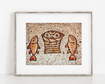 Israel Photography Loaves & Fishes Mosaic Wall Art Decor Print or Canvas. Tagbah Church of Miracles of Jesus. Holy Land Travel Art Print.