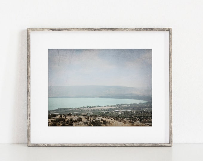 Rustic Sea of Galilee Wall Art Decor Print or Canvas. Antique Style Rustic Israel Home Decor Wall Art. Church Holy Land Art for Her or Him.