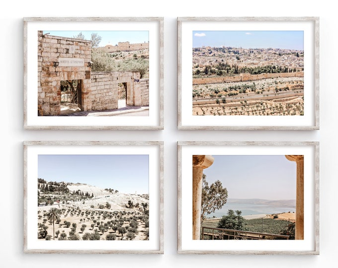 Israel Landscape Wall Art Decor Photography Print Set. Jerusalem & the Sea of Galilee Art Prints or Canvases. Old City Holy Land Gift Idea.