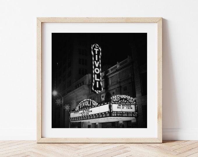 Chattanooga Tivoli Theatre Marque Sign Wall Decor Print or Canvas. Black & White or Sepia Chattanooga Wall Art. Chattanooga Photography Art.
