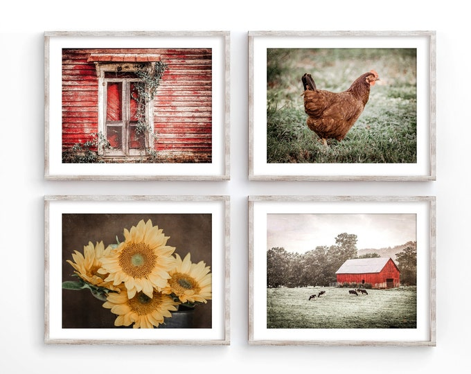 Rustic Farmhouse Wall Art Decor Photography Prints. Red Country Barn Landscape Art Prints or Canvas for Rustic Home Decor. Gift for Her.