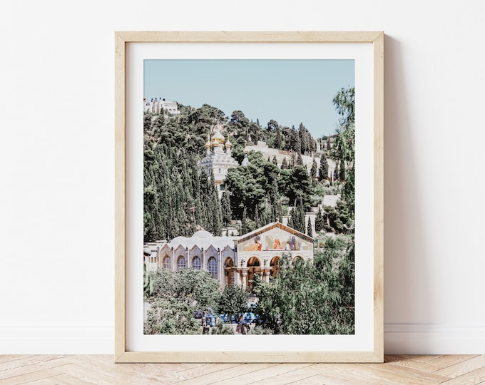Israel Photography Art Print or Canvas Wall Art. Church of All Nations Church on the Mount of Olives. Jerusalem Holy Land Decor. Travel Art