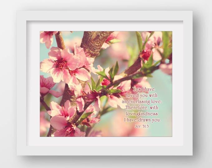 Scripture Print, Bible Verse Print, Floral Scripture Print, Framed Scripture Print, Christian Photography, Bible Verse Canvas, Prophetic Art