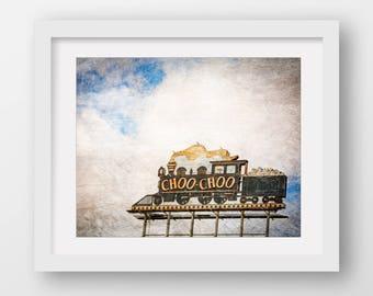 Train Print, Large Canvas Art, Train Photography, Train Nursery Print, Chattanooga Art, Blue Train Sign, Sign Print, Framed Train Print