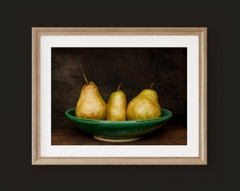Rustic Kitchen Wall Art, Primitive Fruit Wall Art. Photography Print or Canvas Art. Photo of 3 Pears for Farmhouse Kitchen or Dining Room.