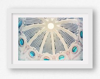 Israel Photography, Church Window Print, Bethlehem Travel Print, Ceiling Print, Teal Blue Canvas, Large Canvas Print, Angel Print, Aqua Art