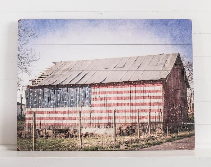 American Flag Barn on Wood, Rustic Barn, Ready to Ship, Rustic Farmhouse Decor, Farm Wall Art, Wood Sign, Print on Wood Plank 24x18
