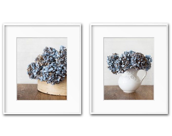 Blue Floral Photography Prints, Farmhouse Wall Art, Country Home Decor, Shabby Chic Art, Blue Hydrangea, Framed Print and Canvas Available