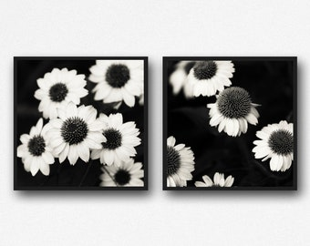 Black & White Floral Wall Art, Photography Print Set of 2, Retro Floral Prints, White Flowers, Set of 2, Cottage Chic, Floral Canvas Set