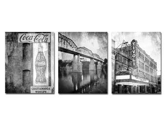 Chattanooga Photography Print Set, Black & White Chattanooga Prints, Framed Chattanooga Print Set, Large Chattanooga Canvas Set, Set of 3