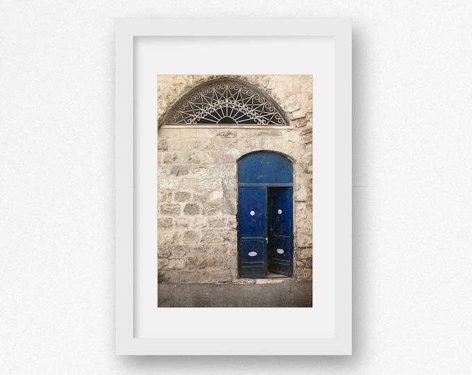 Blue Door Photography Print, Israel Print, Rustic Decor, Old City, Holy Land, Framed Blue Door Print, Jerusalem Canvas, Large Door Canvas