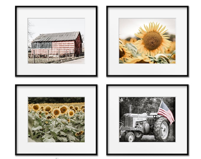 American Flag & Sunflower Field Wall Art. Rustic Americana Home Decor. Set of 4 Photography Prints. Patriotic Farmhouse Canvas or Prints.