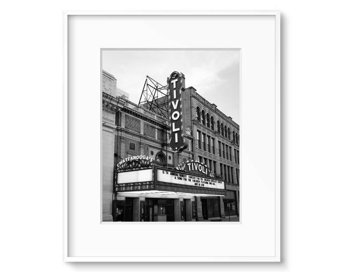 Chattanooga Photography Print, Theater Canvas, Tivoli Theatre, Black & White Art, Theater Sign Print, Framed Tivoli Sign, Chattanooga Canvas