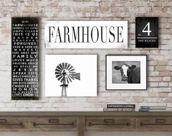 Farmhouse Gallery Wall, Personalized Farmhouse Signs, Large Canvas Art, Asymmetrical, Family Farmhouse Sign, Custom Sign, Windmill, Cow Art
