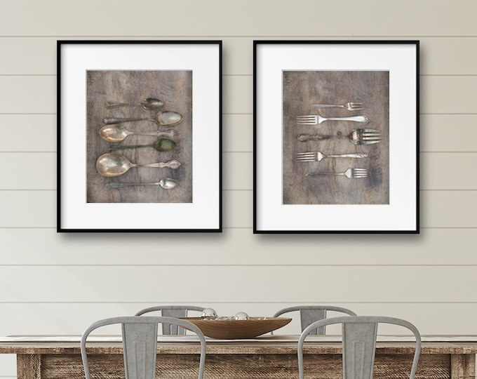 Farmhouse Kitchen Photography Prints, Farmhouse Prints, Neutral Dining Room Wall Art, Vintage Silverware, Framed Prints and Canvas Available