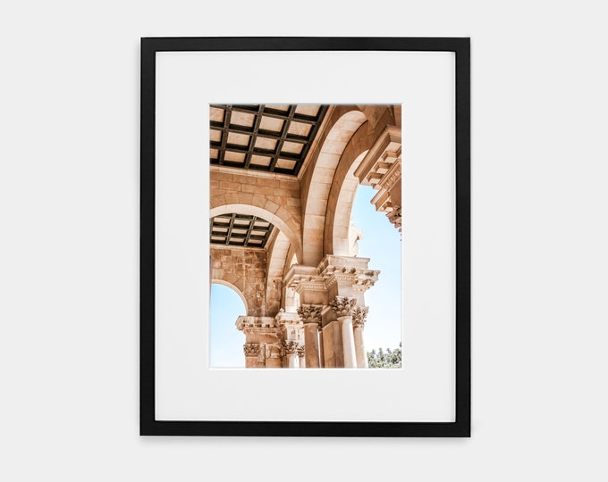 Israel Pillars of the Church of All Nations Print or Canvas Wall Art. Black & White Architectural Wall Art Decor. Jerusalem Holy Land Decor.