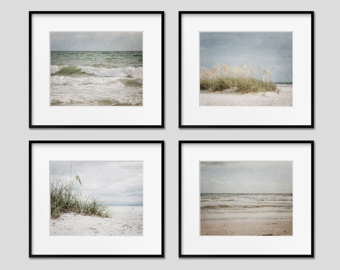 Rustic Beach Wall Art, Set of 4 Photography Prints, Nautical Decor, Neutral Beach Decor, Coastal Wall Art, Beach Canvas Set, Wood Print Set