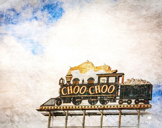 ChooChoo Train Photography Print, Black and Gold Train Sign, Whimsical Nursery, Chattanooga ChooChoo, Framed Print and Canvas Available