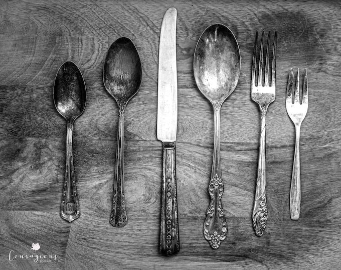 Vintage Silverware Photography Print, Farmhouse Decor, Rustic Kitchen Print, Framed Print, Framed Farmhouse Art, Dining Room Art, Canvas Art