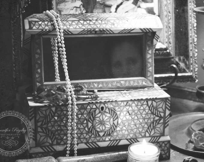 Black & White Photography - Vintage, Art Print, Antique, Jewelry Box, Prints and Canvas Available