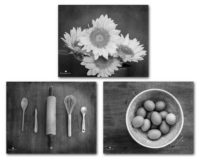 Modern Farmhouse Kitchen Decor Rustic Wall Art Country Life Photography Set Fixer Upper Black & White Prints Canvas 30x24 24x20