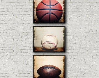 Sports Photography Print Set, Baseball, Football, Basketball Art, Boys Room Decor, Framed Sports Prints, Sports Canvas Set, Game Room Art