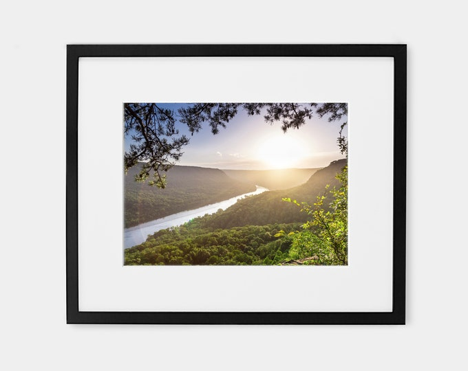 Signal Point Sunset Photography Wall Art Decor Print or Canvas. Tennessee River Gorge & Edwards Point on Signal Mountain Photography Print.