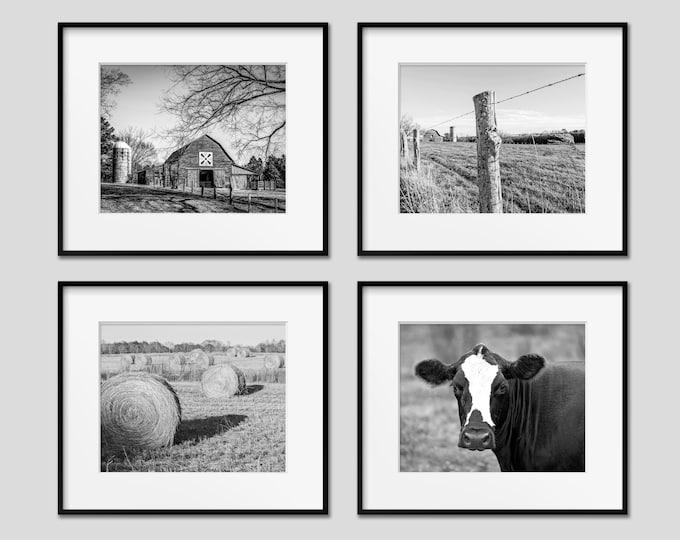 Farm Photography Print Set, Farmhouse Home Decor, Set of 4, Black and White Farm Wall Art, Barn, Cow, Also Available on Canvas, Metal & Wood